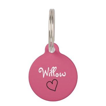 theburlapfrog Cute Pink Personalized Pet Tag with Heart