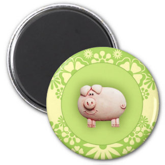 Cute Pink Pig 2 Inch Round Magnet