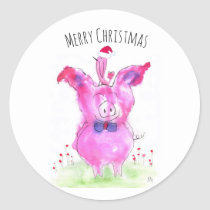 Cute Pink Pig and Bird Christmas Classic Round Sticker