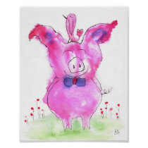 """Cute Pink Pig and Bird Poster 8x10"""""""
