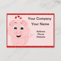 Cute Pink Pig and Hearts Business Card