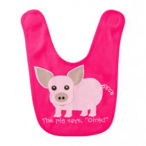 Cute Pink Pig Baby Bib