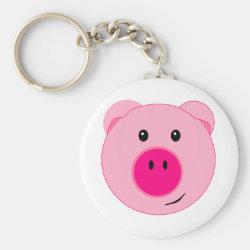 Cute Pink Pig Basic Round Button Keychain
