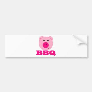 Cute Pink Pig BBQ Bumper Sticker