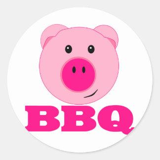 Cute Pink Pig BBQ Classic Round Sticker