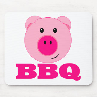 Cute Pink Pig BBQ Mouse Pad