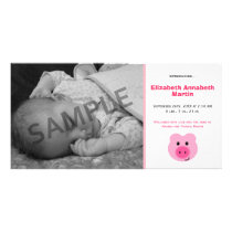 Cute Pink Pig Birth Announcement Photo Card