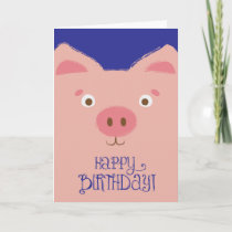 Cute Pink Pig Birthday Card