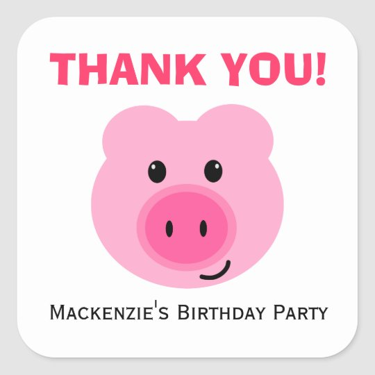Cute Pink Pig Birthday Party Favor Label Stickers