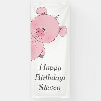 Cute Pink Pig Cartoon Banner