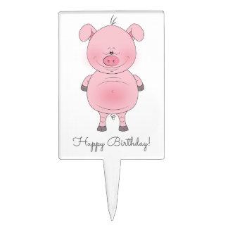 Cute Pink Pig Cartoon Cake Topper
