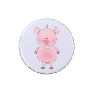 Cute Pink Pig Cartoon Jelly Belly Tin