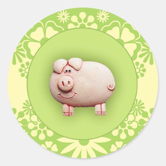 Cute Pink Pig Classic Round Sticker
