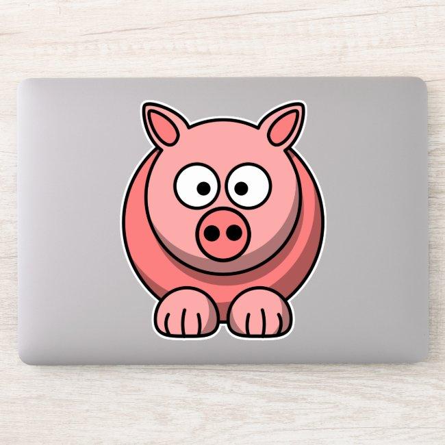 Cute Pink Pig Contour Sticker
