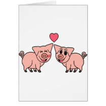 Cute Pink Pig Couple Card