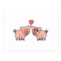 Cute Pink Pig Couple Postcard