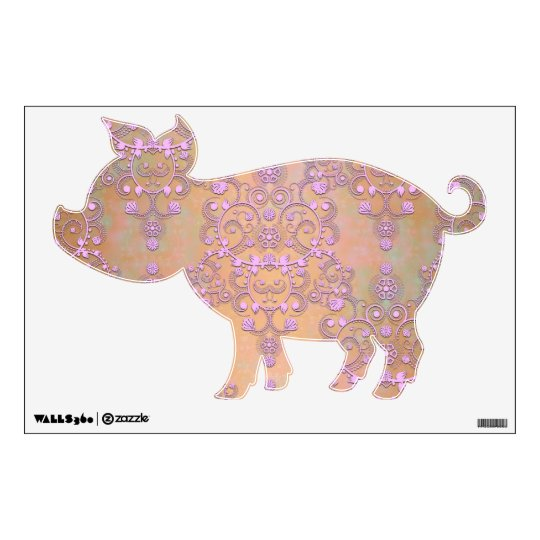 Cute Pink Pig Damask Wall Decal