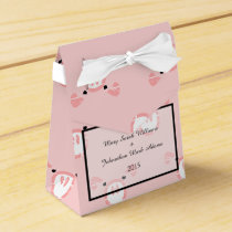 Cute Pink Pig Face Fun Wedding Pattern Favor Box