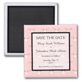 Cute Pink Pig Face Fun Wedding Save The Date 2 Inch Square Magnet