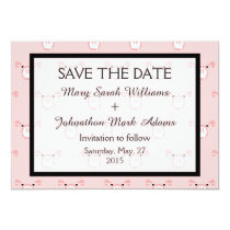 Cute Pink Pig Face Fun Wedding Save The Date Card