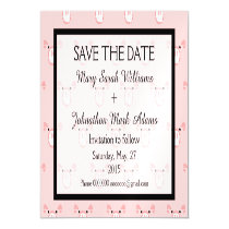 Cute Pink Pig Face Fun Wedding Save The Date Magnetic Card
