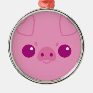 Cute Pink Pig Face Metal Ornament