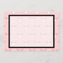 Cute Pink Pig Face Pattern Fun Wedding