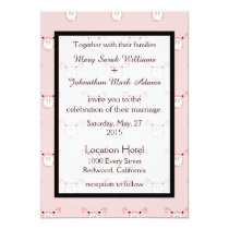 Cute Pink Pig Face Pattern Fun Wedding Invitation