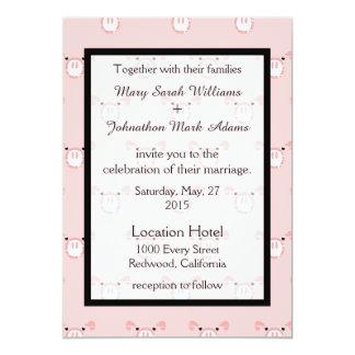 Cute Pink Pig Face Pattern Fun Wedding Invitation