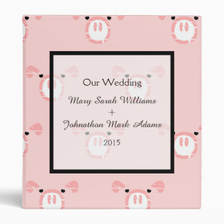 Cute Pink Pig Face Pattern Fun Wedding Planner Binder