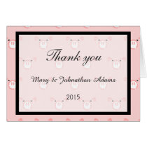 Cute Pink Pig Face Pattern Fun Wedding Thank you Card