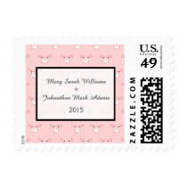 Cute Pink Pig Face Repeating Pattern Wedding Postage