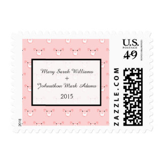 Cute Pink Pig Face Repeating Pattern Wedding Stamps