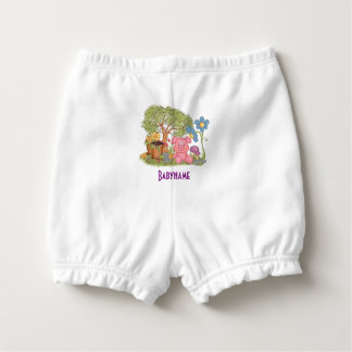 Cute Pink Pig Gardening Flowers Personalized Diaper Cover
