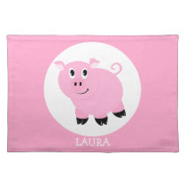 Cute Pink Pig Girls Personalized Placemat
