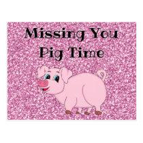 Cute Pink Pig Glitter Postcard