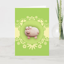 Cute Pink Pig Greeting Card