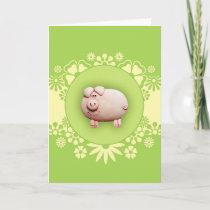 Cute Pink Pig Greeting Card