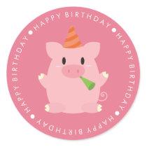 Cute Pink Pig Happy Birthday Classic Round Sticker