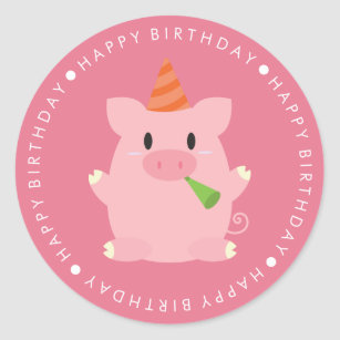 Cute Pink Pig Happy Birthday Classic Round Sticker