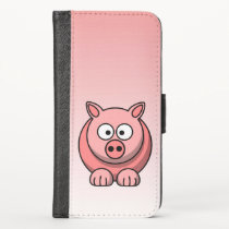 Cute Pink Pig iPhone X Wallet Case