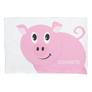Cute Pink Pig Kids Personalized Piggy Pattern Pillow Case
