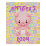 Cute pink pig  kids poster