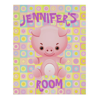 Cute pink pig  kids poster