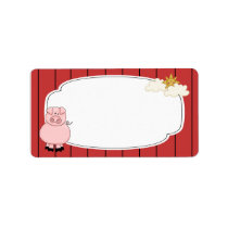 Cute Pink Pig Label
