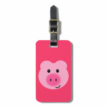 Cute Pink Pig Luggage Tag