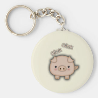 Cute Pink Pig Oink Keychain