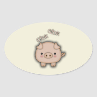 Cute Pink Pig Oink Oval Sticker