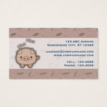 Cute Pink Pig Oink Pink Background Business Card