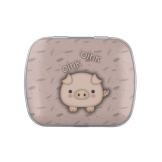 Cute Pink Pig Oink Pink Background Candy Tin